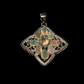 Sterling Silver Iridescent Ethopian Opal Pendant with Chain