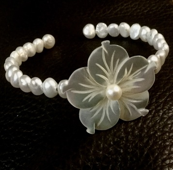 Pearl and Mother of Pearl Cuff Bangle