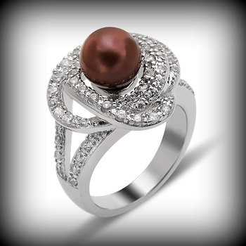Sterling Silver 8mm Chocolate Pearl Ring