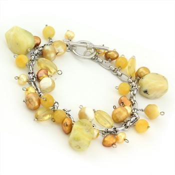 Multi Charm Rough Yellow Quartz & Pearl Beaded Bracelet