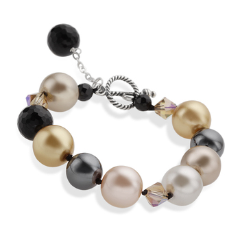 Sterling Silver Pearl & Hematite Bracelet