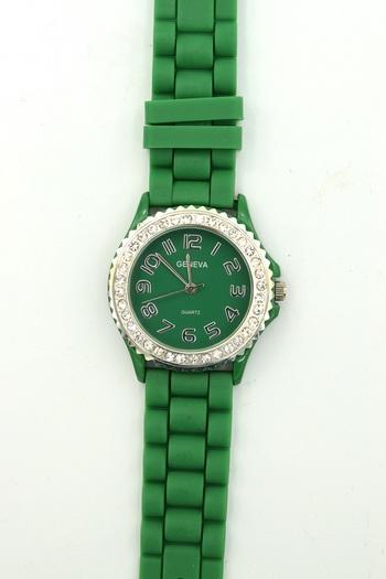 Crystal bezel, Green Silicone Strap, Ladies Watch