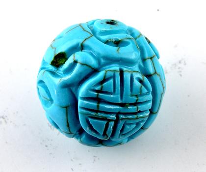 62.520 Carat Carved Turquoise Dyed Howlite Bead Loose Opaque stone