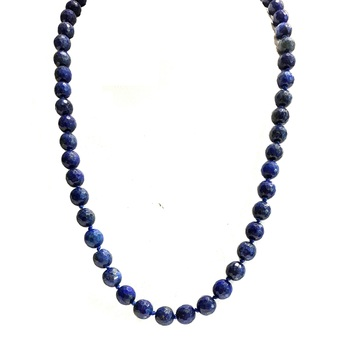 26 Inch Knotted Lapis Long Necklace in Sterling Silver
