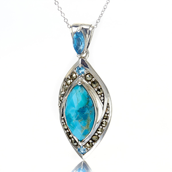 Sterling SIlver Marcasite Blue Topaz and Turquoise Pendant with Chain