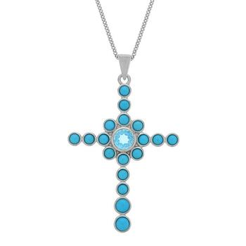 Genuine Sleeping Beauty Turquoise with Swiss Blue Topaz Cross Pendant in Silver