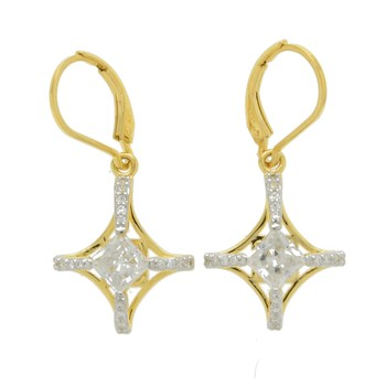 14k Gold over Sterling Silver Princess cut Simulated Diamond Dangle Earrings