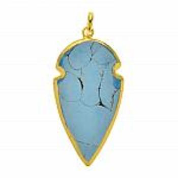 Gold Tone With Synthetic Turquoise Brass Pendant