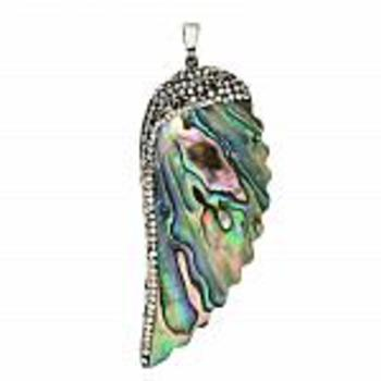 Brass Abalone & White MOP Doublet & Crystal Pendant