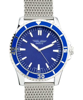Multi Textured Dial Silver Tone Men's Watch