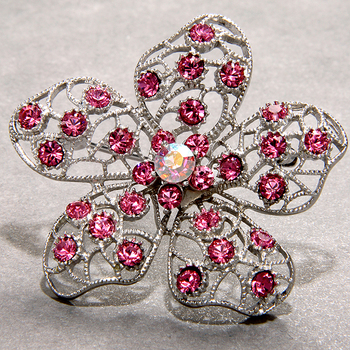 Sterling Silver Pink Crystals Flower Brooch Pin