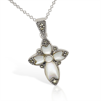 Sterling Silver Genuine Mother of Pearl & Genuine Marcasite Cross Pendant with Chain