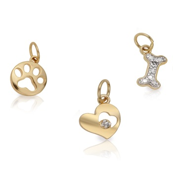 Set of 3 14K over Sterling Silver Diamond Accent Dog Charms Necklace
