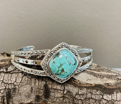 Campo Frio Turquoise with Marcasite Halo Double Split Hinged Cuff