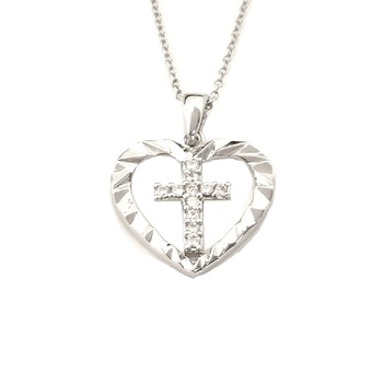 Sterling Silver Heart Cross Pendant with Chain