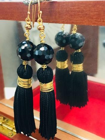 Black Onyx Tassle Earrings