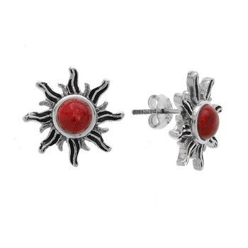 Sterling Silver Red Coral Sun Stud Earrings