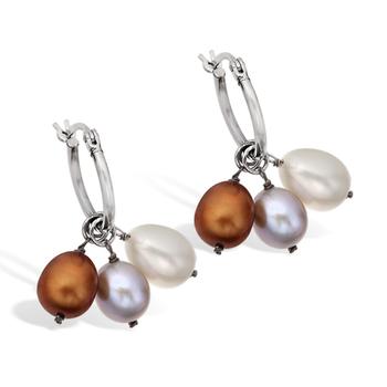 Sterling Silver 3 Color Interchangable Pearl Hoop Earrings