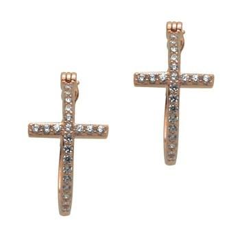 Rose Gold over Sterling Silver Sideway Cross Earrings