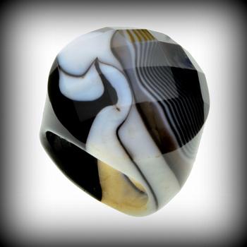 Tuxedo Agate Stone Ring Size 8
