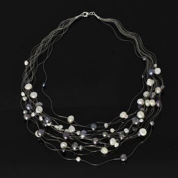 Multi Strand Freshwater Pearl Illusion Floating Necklace