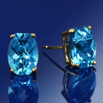 10K Yellow Gold Blue Topaz Stud Earrings