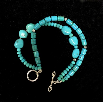 Double Strand Turquoise Bracelet in sterling Silver