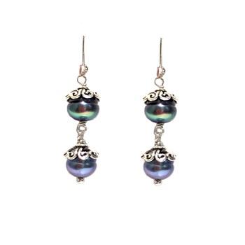 Sterling SIlver Peacock Pearl Dangle Earrings