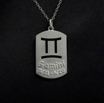 Sterling Silver GEMINI Dog Tag Horoscope Pendant With Chain