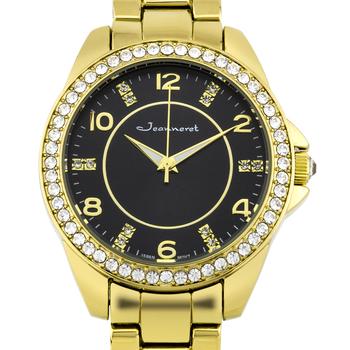 Jeanneret Rosetta Ladies Watch - Gold Bracelet, Gold Case, Black Dial, Gold Accents