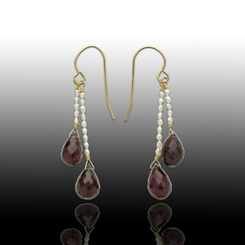 14KY Pearl and Garnet Dangle Earrings