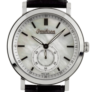 Omikron Harrier Mens Vintage Style Watch - Black Leather Strap, Silver Case, White MOP Dial