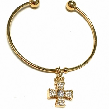 Goldtone Cross Cuff Bangle