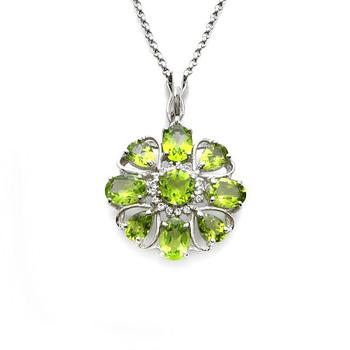 Sterling Silver 5.65cwt Peridot Flower Shaped Pendant