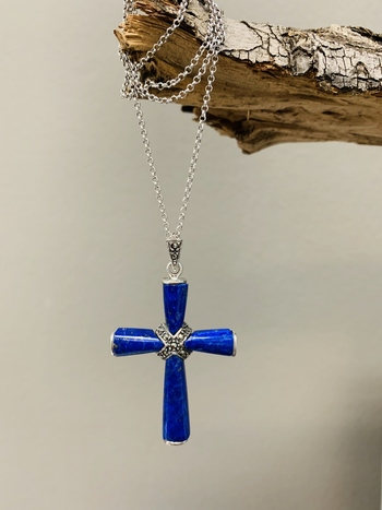 Sterling Silver Lapis & Marcasite Cross Pendant