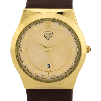 Brown Leather Strap, Gold Tone Dial Men's Watch