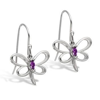 Sterling Silver Amethyst Butterfly Dangle Earrings