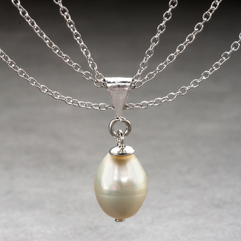 Sterling Silver Triple Chain Pearl Necklace