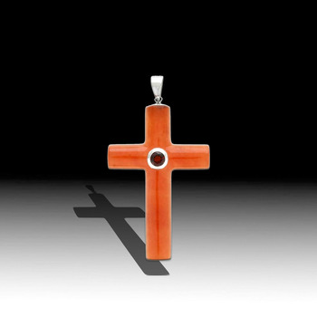 Sterling Silver Jade and Garnet Cross Pendant with Chain