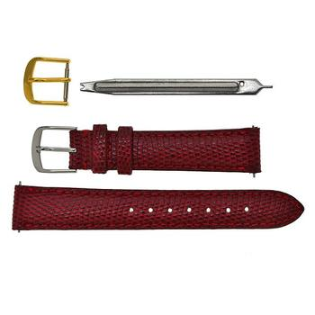 Red Genuine Lizard Skin Leather Watch Strap with Extra Buckle