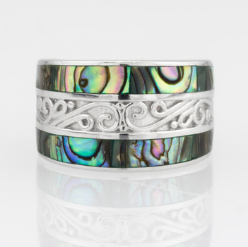 Sterling Silver Abalone Inlay Wide Band Ring Size 11