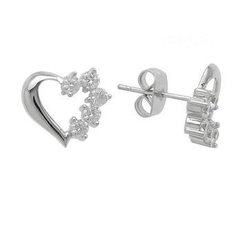 Simulated Diamond Heart Stud Earrings