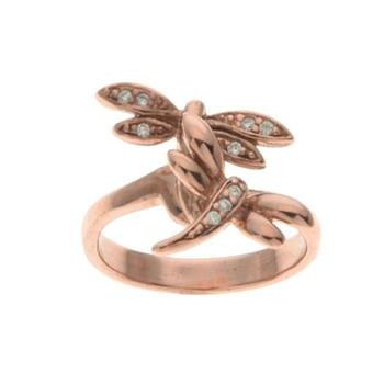 Rose Gold Tone Dragon Fly CZ Ring