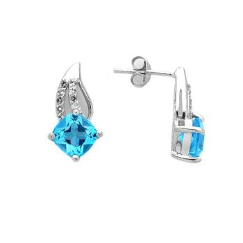 Genuine Swiss Blue Topaz Cushion Swirl Earrings