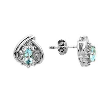 Sterling Silver Heart Shape Aqua & White Topaz Earrings