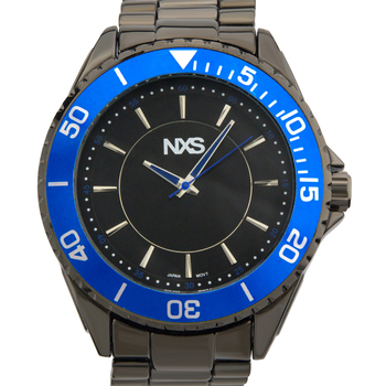 Men's Watch - Gunmetal Bracelet, Gunmetal Case, Blue Bezel, Gunmetal Dial