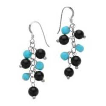 Sterling Silver Black Onyx & Turquoise Dangle Earring