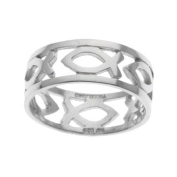 Mens Silvertone Christian Fish Symbol Band Ring Size 10