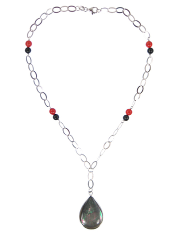 """Black Mother of Pearl with Black Agate & Carnelian Necklace 16"""""""