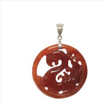 Sterling Silver Carved Dragon Carnelian Medallion Pendant